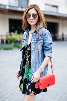 Outfit Ideas, Style Inspiration, Summer Fashion, Coach Dinky Crossbody Bag, Palm Print Dress