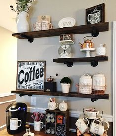 Floating Shelf Enjoy the two major materials that built the United States: Wood and Steel. Hang these bold statement pieces in any room to provide an industrial accent to the space. Whether you mount these shelves to studs or into sheetrock with the provided anchors, the black iron pipe