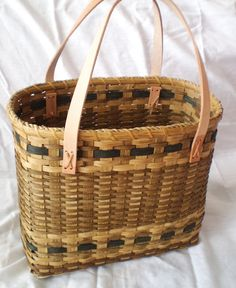 Large Handwoven Leather Handled Tote Basket by momandmia on Etsy, $78.00