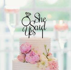 Wedding Cake Topper She Said Yes Wedding Cake Decoration by CakeTopperCompany on Etsy https://www.etsy.com/listing/231102689/wedding-cake-topper-she-said-yes-wedding