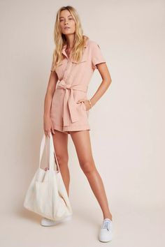 This versatile romper offers the comfort of shorts along with all the styling ease of your favorite dress finish it with a denim jacket and sneakers for an easygoing, ready-for-anything ensemble. Boho Outfits, Summer Outfits, Summer Shorts, Anthropologie, Silk Jumpsuit, Bikini Models, Jumpsuits For Women, Pink, Rompers