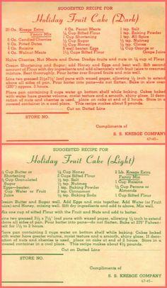 The English Kitchen: Kresge's Light Fruit Cake Retro Recipes, Old Recipes, Cookbook Recipes, Vintage Recipes, Cake Recipes, Christmas Desserts, Christmas Baking, Christmas Fruitcake, Cake