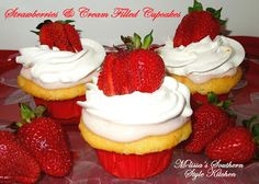 Melissa's Southern Style Kitchen: Strawberries & Cream Filled Cupcakes