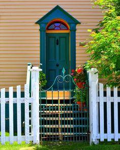 Trinity, Newfoundland and Labrador, Canada Newfoundland Canada, Newfoundland And Labrador, Old Doors, Windows And Doors, Door Gate, Unique Doors, Garden Gates, Atlantic Canada, Beautiful Islands