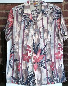 Bamboo Stalks Hibiscus Hawaiian Shirt Coconut Buttons Kennington California L #KenningtonCalifornia #Hawaiian
