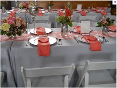 coral and grey wedding table, with mason jars; but instead of mason jars you could do small crystal vases