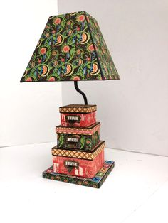 A stunning altered lamp using Typography from Diane Schultz' workshop! #graphic45 #alteredart #typography