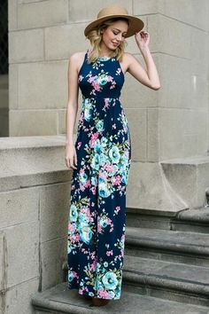 Floral Racerback Maxi Dress : Navy. Trendy FashionFashion ...