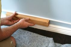 Great project for the NH. Cheap Faux thick/tall Baseboards tutorial Add small molding/trim a few inches above the original trim and paint the wall space in between the same color. And now you have the look of the big baseboards for little money! Do It Yourself Furniture, Do It Yourself Home, Diy Furniture, Furniture Plans, Home Interior, Interior Decorating, Decorating Tips, Interior Design, Baseboard Molding