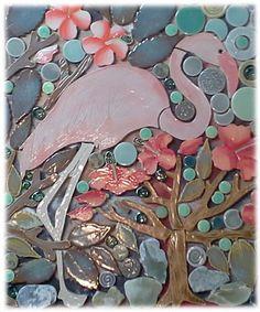 standing pink flamingo shaped ceramic tile mosaic