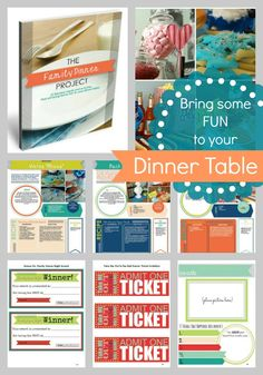 LOVE this eBook with fun ideas for the dinner table! Themed dinners, games activities and free printable. The Family Dinner Project is awesome!
