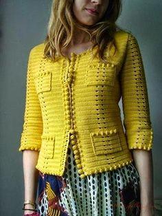 phildar design on ravelry. very chanel. - Chanel Cardigan - Ideas of Chanel Cardigan - phildar design on ravelry. very chanel. Gilet Crochet, Crochet Coat, Crochet Jacket, Crochet Cardigan, Love Crochet, Irish Crochet, Diy Crochet, Crochet Clothes, Crochet Baby