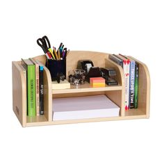 Solid birch plywood Desk Organizer helps keep your desk or work surface neat and tidy. Book and folder storage compartments on either side, with letter-size paper trays in the center. Designed to hand