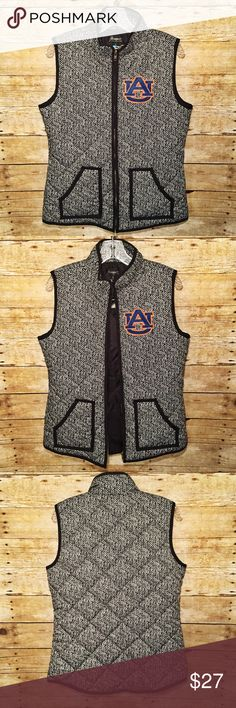 "NWT Auburn University Herringbone Puff Vest (L) NWT Auburn University Herringbone Puff Vest (L)  - Size Large  - New With Tags  - ""Officially Licensed Collegiate Product""  - Brand: ""Gameday Couture""  - Auburn ""AU"" logo lined with orange rhinestones  - Polyester  - Zippered closure  - 2 front pockets  - Perfect condition Gameday Couture Jackets & Coats Vests"