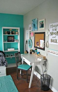 Beautiful Teenage Girls' Bedroom Designs Turquoise and white bedroom for teen girls with a stylish and beautiful workarea.Turquoise and white bedroom for teen girls with a stylish and beautiful workarea. Teenage Girl Bedroom Designs, Room Decor For Teen Girls, Teen Girl Rooms, Teenage Girl Bedrooms, Bedroom Girls, Diy Bedroom, Dream Bedroom, Bedroom Rustic, Comfy Bedroom