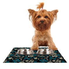 Kess InHouse Allison Beilke \'Leaf Scatters Midnight\' Feeding Mat for Pet Bowl, 18 by 13-Inch * Click on the image for additional details. #Dogs