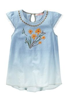 Embroidered Chambray Tunic (Toddler & Little Girls)