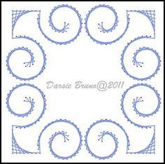 Patrón de bordado Deco Swirly marco papel para tarjetas por Darse