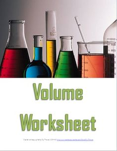 Ten question worksheet for middle school science students learning about volume