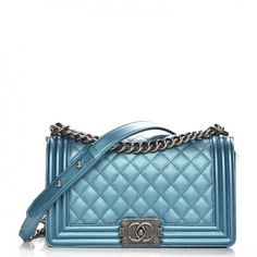 b89408dee0e5 Diamond Quilt, Metallic Blue, Shoulder Pads, Caviar, Chanel Boy Bag,  Hardware