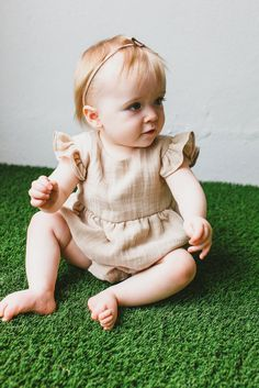 cute baby clothes // beautiful bubble romper in double-layered tan muslin, only from cuteheads. The perfect baby gift or take home from the hospital outfit.