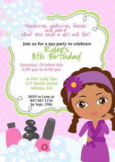 DIY Sassy Spa Party invitation. African American Little Girl Spa Party Invitation. $8.00, via Etsy.