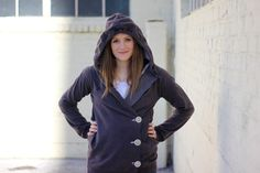 Oversized hoodie into cute side-button sweater.  I could do that ..