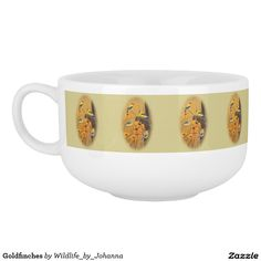 "Goldfinches Soup Mugs. Designed and created from original oil painting ""Golden Treasures"" by Johanna Lerwick Wildlife/Nature Artist."