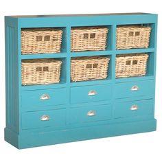 $281.95-Nantucket Cabinet - California Dreaming on Joss & Main WOOD & WICKER / SKY BLUE / 6-BASKETS & 6-DRAWERS / MEAS. 46W X 10D X 36H
