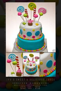 """I like the simplicity of this one. Slightly different colors, candy cone castle on top, and square """"game pieces"""" around the middle of the top tier instead of circles. Candy Theme Cake, Candy Land Cupcakes, Candy Party, Cupcake Cakes, Torta Candy, 10 Birthday Cake, Candy Cone, Cream Candy, Girly Cakes"""