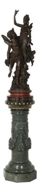 "Jean-Louis Gregoire (1840-1890, France) Bronze Titled ""Zephyre & Psyche""."