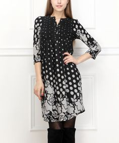 Look what I found on #zulily! Black & Gray Floral Notch Neck Dress by Reborn Collection #zulilyfinds