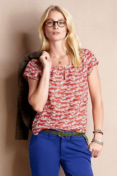Women's Silk Keyhole Top from Lands' End