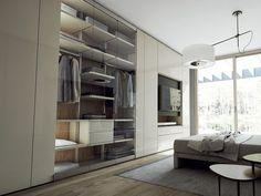 Descarregue o catálogo e solicite preços de Roomy | armário com tv integrada By caccaro, armário modular lacado de madeira e vidro com tv integrada design Sandi Renko, Coleção roomy