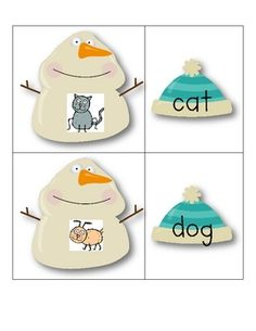Hat's off to Snowmen! A Literacy Center for CVC and CCVC Words - Growing Kinders - TeachersPayTeachers.com