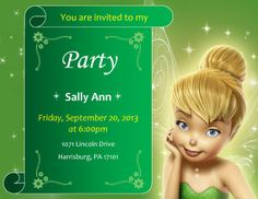 This invitation log template is very concise format where you can add receive invitations on one side while send invitations to other side. Invitation log is used to keep record of all invitations either sent or received during Tinkerbell Invitations, Tinkerbell Party, Holiday Invitations, Birthday Invitations Kids, Diy Invitations, Invitation Ideas, Free Printable Invitations Templates, Party Printables, Templates Free