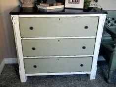 white dresser, gray drawers, dark top, distressed
