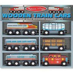 Melissa & Doug Wooden Train Cars Set