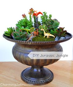 Mini Jurassic Jungle with succulents. Garden Terrarium, Succulent Terrarium, Cacti And Succulents, Gnome Garden, Garden Art, Dinosaur Garden, Creation Deco, Miniature Fairy Gardens, Container Gardening