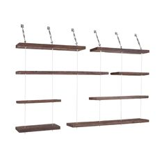 These rustic, yet dynamic wall shelves are crafted from nearly century-old reclaimed pine wood, and held in place using stainless steel cables attached to turnbuckles to save on floor space. Shelves are 11 deep in 39 & 55 widths. Suspended Shelves, White Floating Shelves, Diy Hanging Shelves, Drawer Shelves, Wooden Shelves, Wall Shelves, Shelving, Wall Storage, Industrial Workspace