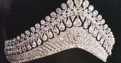 Liked on Pinterest: The tiara worn by Tsarina Alexandra . A large Russian kokoshnik with multiple pear-shaped diamonds both top and bottom.