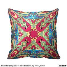 Beautiful complicated colorful moroccan ornament. pillow make interior unique and add aesthetics sense. Ornament create in oriental tradition. #Home #decor #Room #Interior #decorating #Idea #Styles