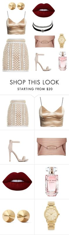 """riri baby"" by littlereds on Polyvore featuring Balmain, Givenchy, Lime Crime, Elie Saab, Eddie Borgo, Michael Kors and Charlotte Russe"