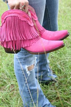 db27c9a1b3f Spitfire Fringe Booties Hot Pink By Lane Ladies Footwear
