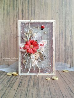Бумажное увлечение, Card with flower