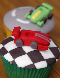 the cupcake gallery - kids' birthday - racing car cupcakes