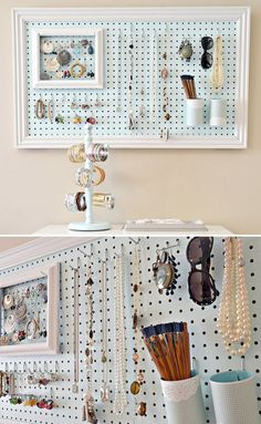 DIY: Jewelry organization using peg board. this saves so much desk space! DIY: Jewelry organization using peg board. this saves so much desk space! Pegboard Organization, Jewelry Organization, Organization Ideas, Diy Jewelry Organizer Wall, Storage Organizers, Bedroom Organization, Jewellery Storage, Jewellery Display, Diy Jewellery Board