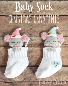 DIY Christmas ornaments made from a baby sock! FREE pattern! More