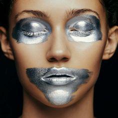 Metallic Face by Aldona Karczmarczyk & MUA Patrycja Dobrzeniecka silver beauty