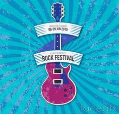 Vintage Guitar Music Festival Poster vector graphics